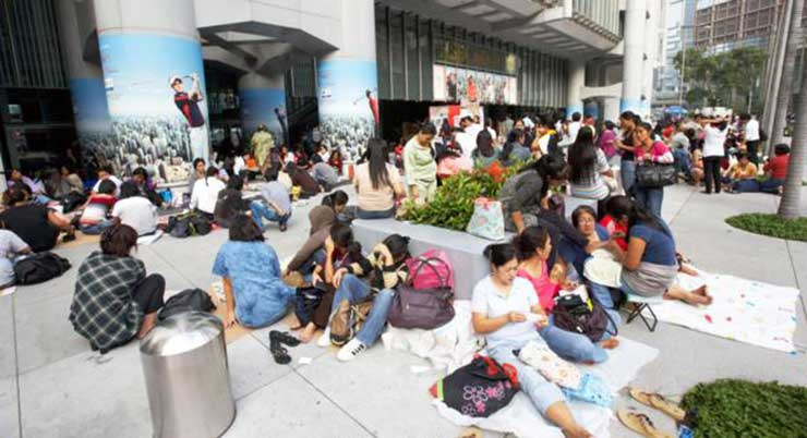 More than 300,000 domestic helpers congregate in urban areas like these
