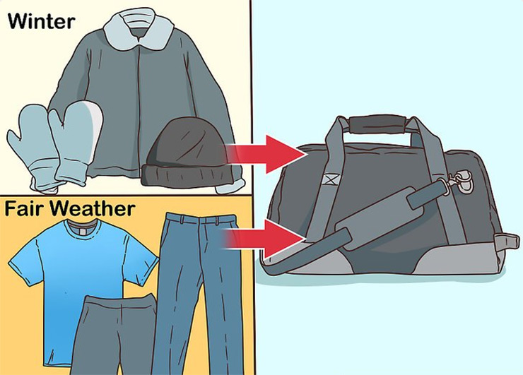 Pack weather-appropriate clothing in a suitcase or small bag