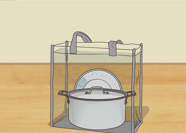 Place all your kitchen supplies in a large, clear tote